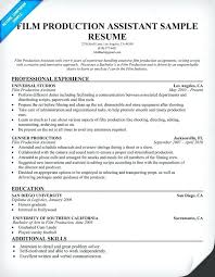 script for video resume sample sample film production assistant