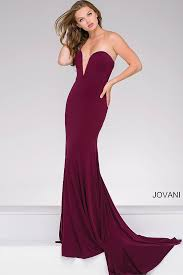 eggplant form fitting floor length jersey dress features