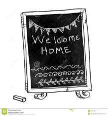 chalkboard welcome home sign stock vector image 50195333