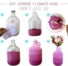 diy ombrè vase from a juice jug