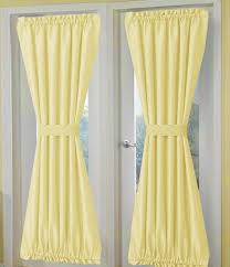 solid light yellow french door curtain panels