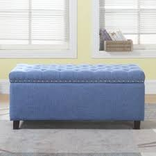 Noah Tufted Storage Ottoman Blue Polyester U0026 Polyester Blend Storage Ottomans You U0027ll Love