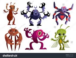evil insects spiders crab worms bugs stock vector 557912992