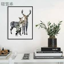 elk home decor poster painting deer elk family wall art minimalist canvas animals