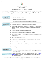 Production Manager Resume Sample Garment Production Manager Resume Sample Production Manager