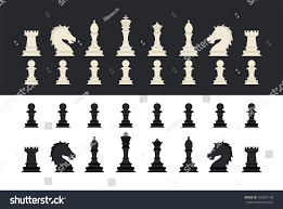 black white chess pieces icons set stock vector 422007148