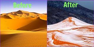 Snow In Sahara Snow Falls In Sahara Desert This Has Happened For The First Time