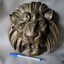 antique cast iron lion head architectural ornament garden decor