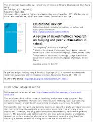 a review of mixed methods research on bullying and peer