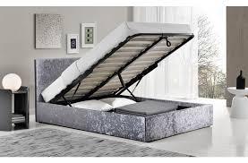 Birlea Ottoman Berlin 4ft 6 Fabric Ottoman Bed Crushed Velvet Steel