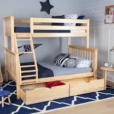 Max  Lily Solid Wood Twin Over Fulll Bunk Bed With Under Bed - Under bunk bed storage drawers