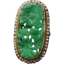art deco 14k jadeite jade seed pearl ring water lampl from