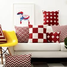 Sofa Cushion Cover Designs Red Geometric Lattice Pillow Cushion Cover Pillow Case Home