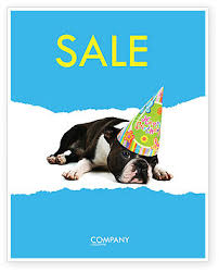 happy birthday puppy sale poster template in microsoft word
