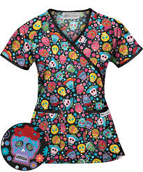 ua spirit celebrate black mock wrap scrub top print scrubs
