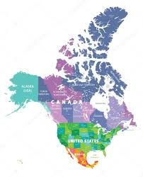 United States Canada Map by Colored Map Of Usa Canada And Mexico States U2014 Stock Vector