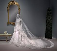 display wedding dress amal clooney s wedding dress on display popsugar fashion