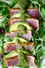 chili crusted ahi tuna u0026 avocado salad with cilantro garlic
