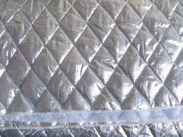 a of silver metallic quilted fabric with a pattern