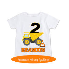 dump truck birthday shirt baby boy clothes construction