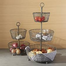fruit baskets bendt tiered iron fruit baskets crate and barrel