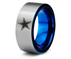 mens blue wedding bands dallas cowboys blue tungsten wedding band ring mens womens brushed