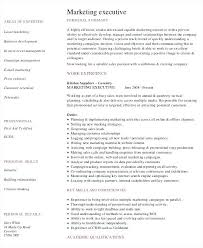 Executive Resume Template Free Resume Sample For Marketing Executive Marketing Manager