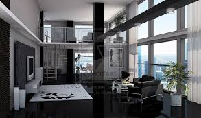 Dan Sawyer Black Loft Apartment Black And White Always A Winner - Bachelor apartment designs
