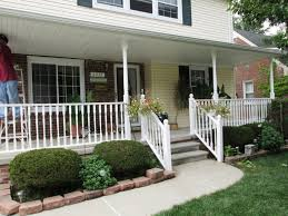 exterior heavenly image of front porch decoration using white wood