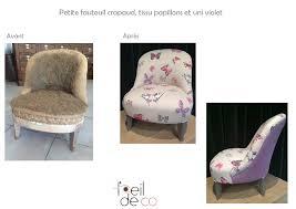 tissu pour fauteuil crapaud l u0027oeil de co petit fauteuil crapaud tissu papillons et uni violet