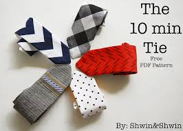 10 min tie with free pdf pattern shwin and shwin