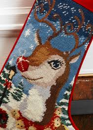 needlepoint personalized reindeer
