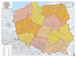 Map Poland Poland Postcode Wall Map Easteurope Countries Europe Wall Maps