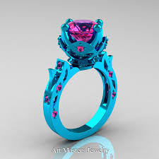 pink wedding rings images Modern antique 14k turquoise gold 3 0 carat pink sapphire jpg