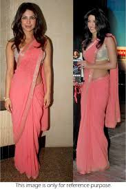style priyanka chopra georgette saree in baby pink colour nc423