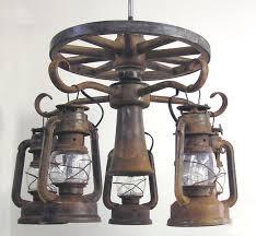 wagon wheel ceiling fan light wooden wagon wheel ceiling fan light kit with 5 lanterns