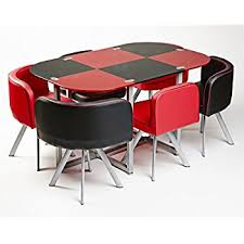 MODERN MIAMI DINING TABLE WITH  CHAIRS RED AND BLACK Amazonco - Modern miami furniture