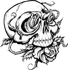skull roses line drawing other design flash