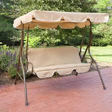 shady metal porch swing with brown pad and canopy ideas for garden