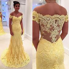 evening wedding dresses vintage mermaid yellow evening gowns 2018 shoulder lace prom