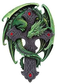 tattoo cross dragon amazon com 9 06 inch woodland guardian dragon wall plaque statue
