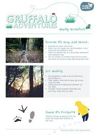 gruffalo adventures worksheet muddy ideas