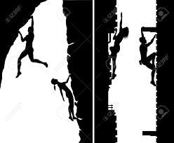 set of editable silhouettes of free climbers not using safety