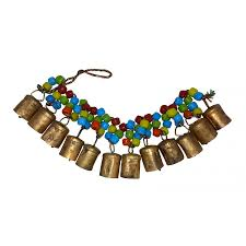 chime hanging 12 cow bells with coloured beads positive energy