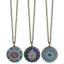 round locket necklace images Round enamel tile locket long necklace jpg