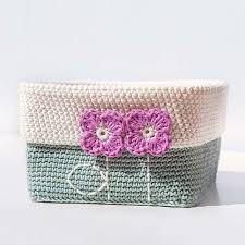 Tiny Flower Crochet Pattern - crochet basket with tiny spring flowers makers bakers movers