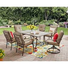 Patio Furniture From Walmart by Mainstays Charleston Park 7 Piece Dining Set Brown Walmart Com