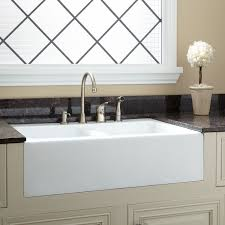 decor stainless apron sink with bronze faucet and white