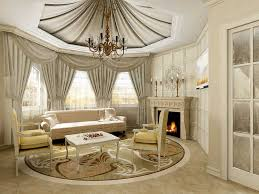 alluring living room with classy home decor with fabric curtain