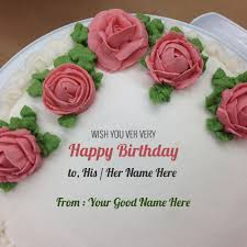 rose birthday name cake for his or her write name on image